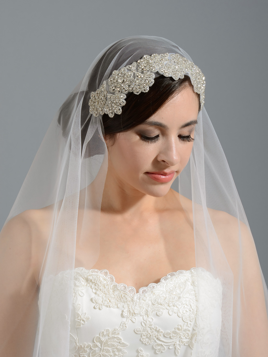 Ivory elbow wedding veil with rhinestone applique V wedding veils