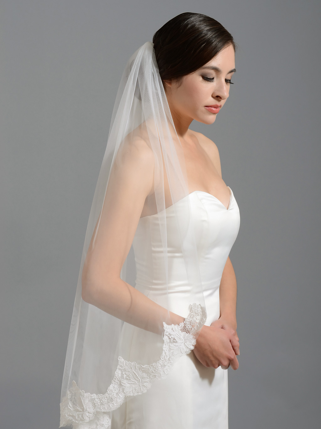 Ivory elbow alencon lace wedding veil V wedding veils