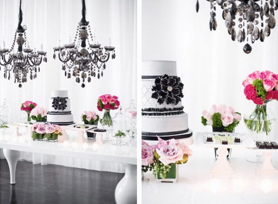 Classic Black and White Winter Wedding Color Scheme Tulle