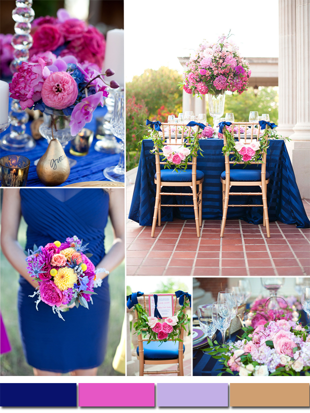 Classic Royal Blue Wedding Color Ideas and Bridesmaid Dresses - pink wedding photo