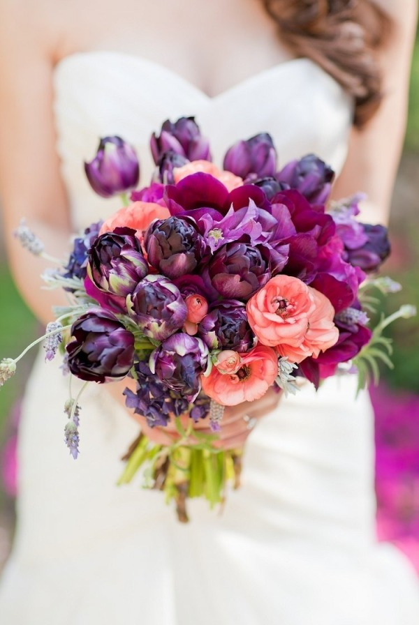 Orange Fall Peony Wallpaper Dark Purple And Coral Wedding Bouquet Tulle Amp Chantilly