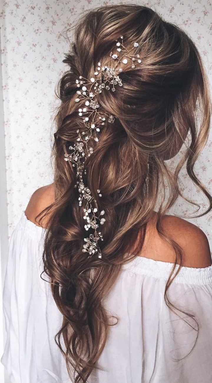 wedding hairpieces wedding hair pieces haf up half down wavy wedding hairstyle with hair accessories