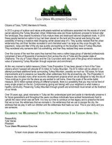 Letter from TUWC President Tyler Hanes about Vision Tulsa Proposition 3