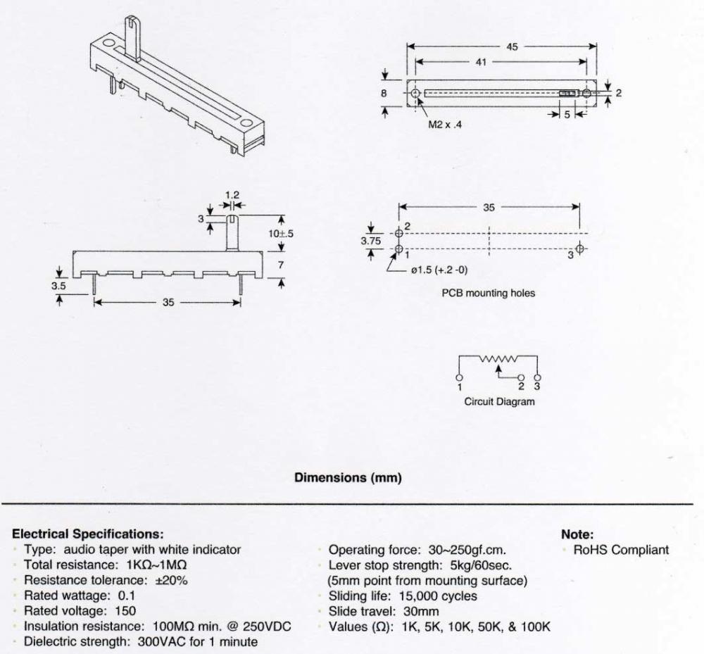 Alpha slide potentiometer, 30mm, audio/log 50K - Musical accessories