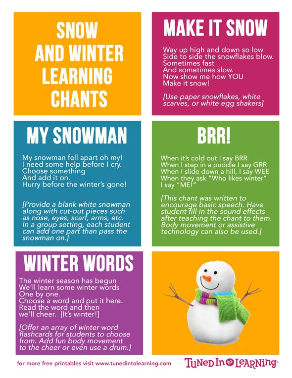Snow and Winter Music Therapy Activities- Tuned in to Learning