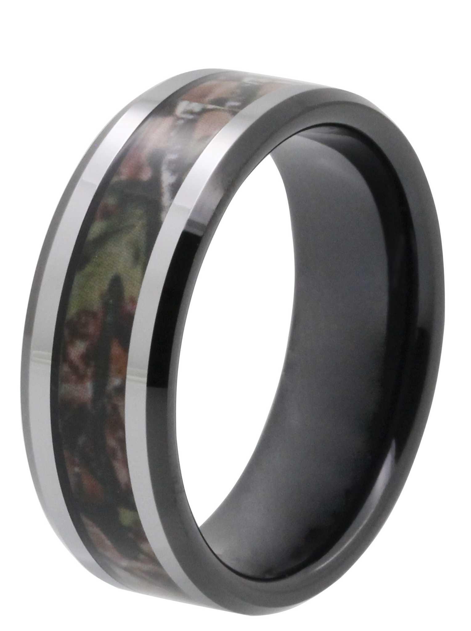 black tungsten rings matching black wedding bands 8MM Dark Camo Inlay TaylorightTungsten Wedding Band