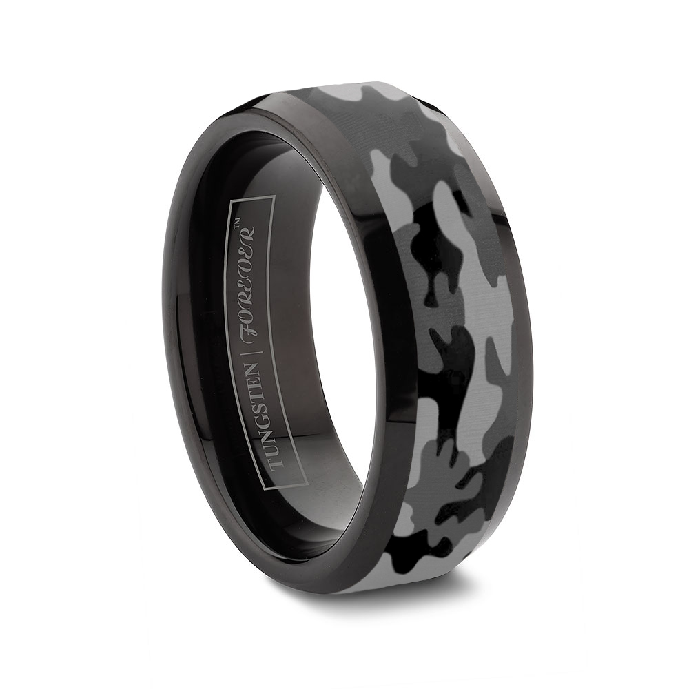 custom tungsten rings mens titanium wedding bands Ceramic and Tungsten Diamond Ring Camo Tungsten Ring