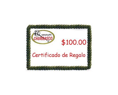 Menú Restaurante El Churrasco  Certificado de Regalo El Churrasco
