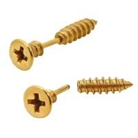 1 Pair Stainless Steel Fakeplugs Screw Cross Slot Earring ...