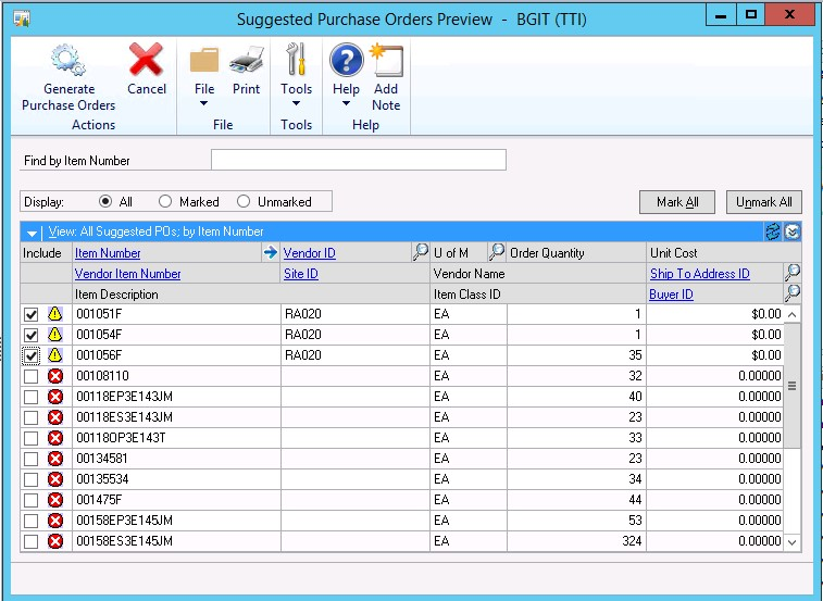 Generate Purchase Orders Automatically in Microsoft Dynamics GP