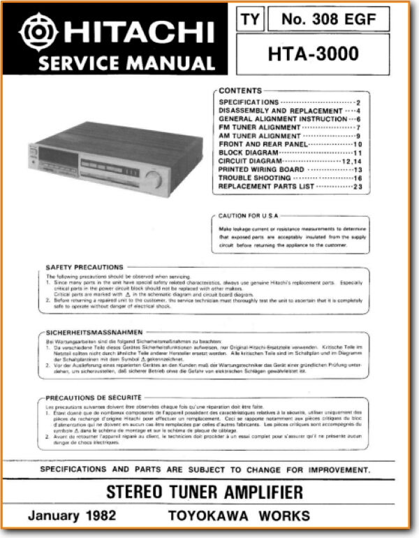 Hitachi HTA-3000 Solid State Amp Receiver - On Demand PDF Download