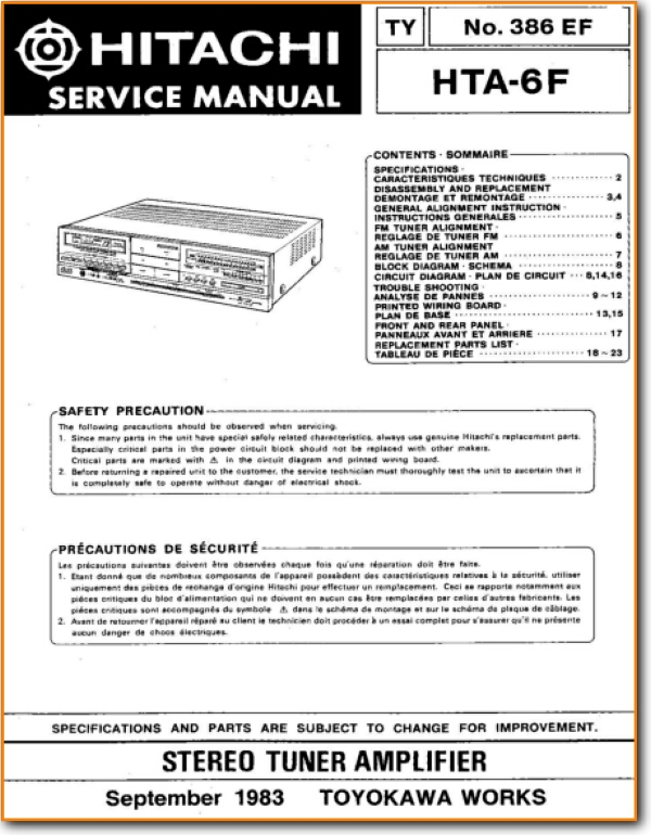 Hitachi HTA-6-F Solid State Amp Receiver - On Demand PDF Download
