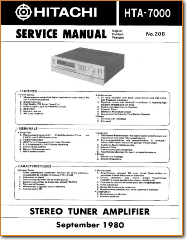 Hitachi HTA-7000 Solid State Amp Receiver - On Demand PDF Download