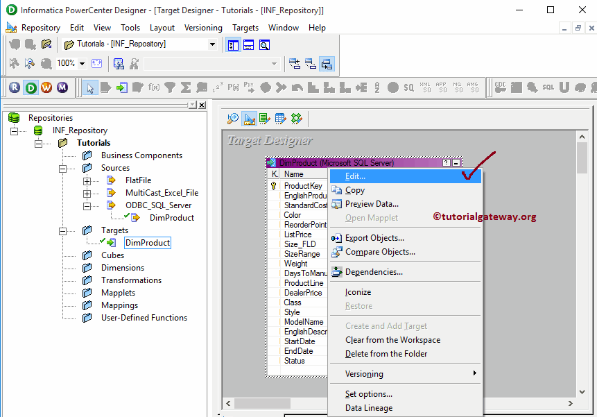 Create Informatica Target Table Using Source Definition