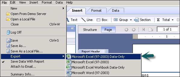 Crystal Reports Data Export To Excel