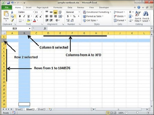 Rows and Columns in Excel 2010