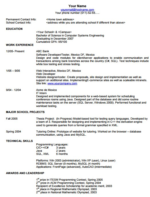 Job Search Skills Format of Resume