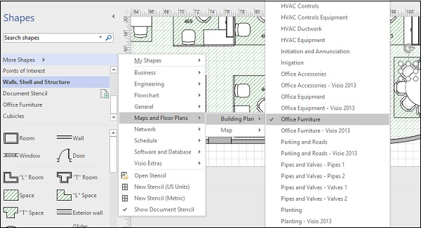 Microsoft Visio Adding Furniture to a Floor Plan