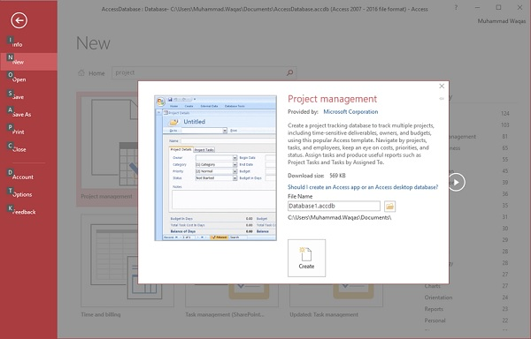 MS Access Create Database