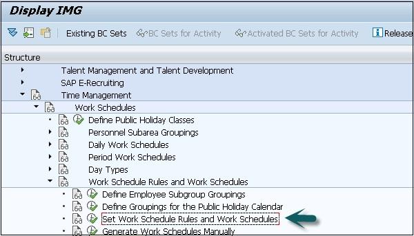 SAP HR Work Schedules