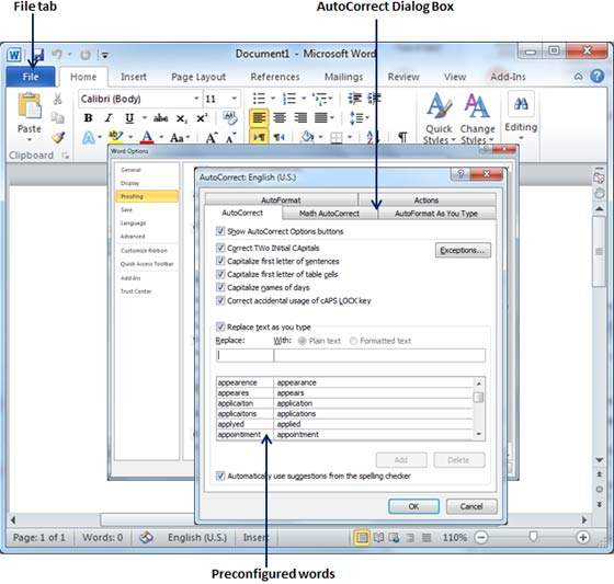 Auto Correction in Word 2010