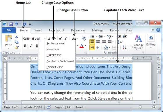 Change Text Case in Word 2010