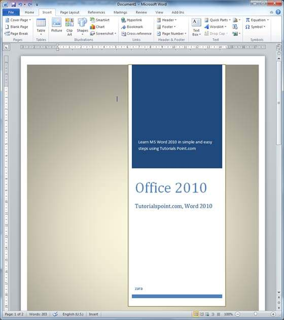 Cover Pages in Word 2010