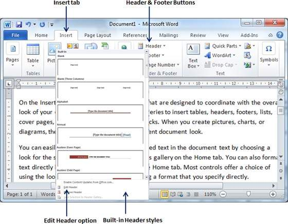 Header and Footer in Word 2010 - formatting a resume in word 2010