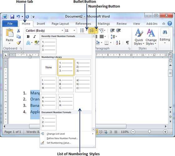Create Bullets in Word 2010 - numbering tickets in word