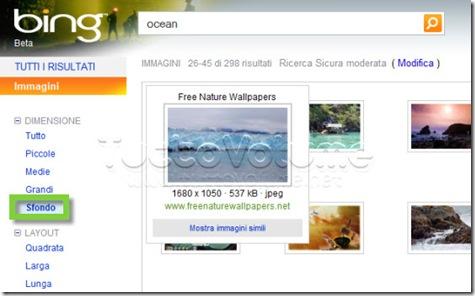 Ricerca wallpaper con Bing