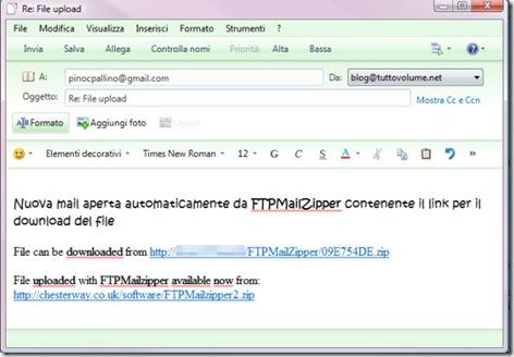 Nuova mail con link FTPMailZIpper