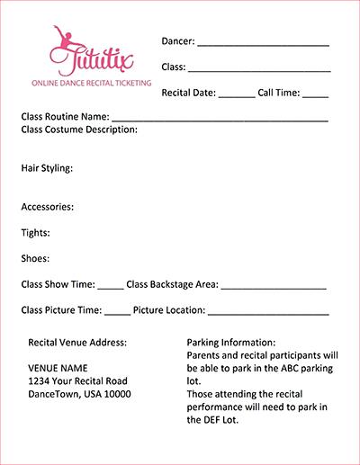 Dance Recital Information Sheet Template TutuTix - information sheet template
