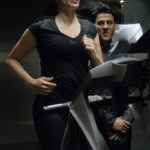 "BATTLESTAR GALACTICA - Michelle Forbes as Admiral Cain and Steve Bacic as Col. Belzen in ""Razor"""