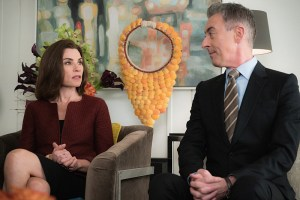 """Restraint"" -- Diane is personally conflicted when she is forced to argue a heated case between pro-choice and pro-life advocates in order to retain an important client, represented by attorney Ethan Carver (Peter Gallagher). Also, Alicia and Lucca are desperate for new business and attempt to poach clients from Louis Canning (Michael J. Fox), on THE GOOD WIFE, Sunday, Nov. 22 (9:00-10:00 PM, ET/PT) on the CBS Television Network.  Pictured (L-R) Julianna Margulies  as  Alicia Florrick   and Alan Cumming as Eli Gold  Photo:   Michael Parmelee/CBS © 2015 CBS Broadcasting Inc. All Rights Reserved."