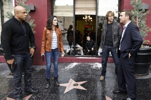 """""""Exchange Rate"""" -- Pictured: LL COOL J (Special Agent Sam Hanna), Daniela Ruah (Special Agent Kensi Blye), Eric Christian Olsen (LAPD Liaison Marty Deeks) and Chris O'Donnell (Special Agent G. Callen). When a convicted Cuban spy escapes U.S. custody just before he is set to return to his country in a prisoner exchange, the team is shocked to learn that Anna (Bar Paly) helped him break out. Also, Deeks admits to Kensi that he thinks she is too messy, on NCIS: LOS ANGELES, Monday, March 14 (9:59-11:00 PM, ET/PT), on the CBS Television Network. Photo: Sonja Flemming/CBS ©2016 CBS Broadcasting, Inc. All Rights Reserved."""