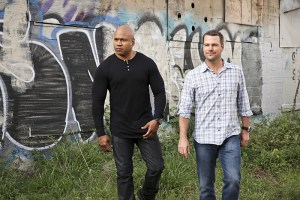 """Granger, O"" -- Pictured: LL COOL J (Special Agent Sam Hanna) and Chris O'Donnell (Special Agent G. Callen). As Granger escorts Jennifer Kim (Malese Jow) back to Los Angeles, he interrogates her regarding a North Korean spy and she admits to knowing he is her father, on NCIS: LOS ANGELES, Monday, April 18 (9:59-11:00, ET/PT), on the CBS Television Network. Photo: Cliff Lipson/CBS ©2016 CBS Broadcasting, Inc. All Rights Reserved."