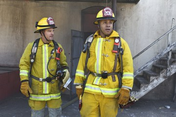 """Where There's Smoke--¦"" -- Pictured: Chris O'Donnell (Special Agent G. Callen) and LL COOL J (Special Agent Sam Hanna). Sam and Callen go undercover as firefighters when top secret information about suspected terrorists is stolen from a secure Department of Defense container at the site of a fire, on NCIS: LOS ANGELES, Monday, April 25 (9:59-11:00, ET/PT), on the CBS Television Network. Photo: Sonja Flemming/CBS В©2016 CBS Broadcasting, Inc. All Rights Reserved."