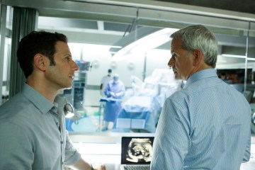 "ROYAL PAINS -- ""Lama Trauma"" Episode 707 -- Pictured:  (l-r) Mark Feuerstein as Dr. Hank Lawson, Campbell Scott as Boris von Jurgens-Ratenicz -- (Photo by: Giovanni Rufino/USA Network)"