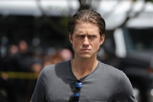 "GRACELAND -- ""Dog Catches Car"" Episode 312 -- Pictured: Aaron Tveit as Mike Warren -- (Photo by: Jeff Daly/USA Network)"