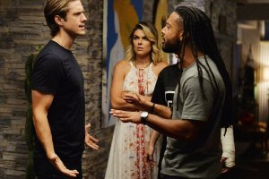 "GRACELAND -- ""No Old Tigers"" Episode 313 -- Pictured: (l-r) Aaron Tveit as Mike Warren, Serinda Swan as Paige Arkin, Brandon Jay McLaren as Dale ""DJ"" Jakes -- (Photo by: Jeff Daly/USA Network)"