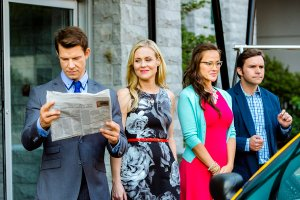 The POstables - a special group of Post Office Investigators - are all in attendance at an emergency Senate committee hearing, declaring they have information that could help rescue a soldier and reunite her with her family, while Rita competes for the National Miss Special Delivery title in Washington, D.C.  Photo: Eric Mabius, Kristin Booth, Crystal Lowe, Geoff Gustafson  Credit: Copyright 2015 Crown Media United States LLC/Photographer: Bettina Strauss