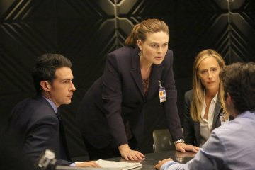 "BONES:  L-R:  John Boyd, Emily Deschanel and guest star Kim Raver in the ""The Brother in the Basement"" episode of BONES airing Thursday, Oct. 8 (8:00-9:00 PM ET/PT) on FOX.  ©2015 Fox Broadcasting Co.  Cr:  Kevin Estrada/FOX"