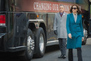 """Iowa"" -- Tensions run high as the entire Florrick family is crammed into Peter's campaign bus with Eli and Ruth on their way to the Iowa Caucuses. Once there, Peter attempts a high-risk political stunt to gain votes for his presidential bid, on THE GOOD WIFE, Sunday, Jan. 10 (9:00-10:00 PM, ET/PT) on the CBS Television Network.  Pictured Alan Cumming as Eli Gold and Julianna Margulies as Alicia Florrick Photo: JoJo Whilden ©2015 CBS Broadcasting, Inc. All Rights Reserved"