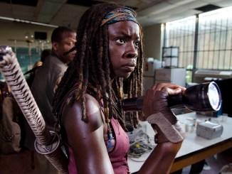 Bob Stookey (Lawrence Gilliard Jr.) and Michonne (Danai Gurira) - The Walking Dead _ Season 4, Episode 4 - Photo Credit: Gene Page/AMC
