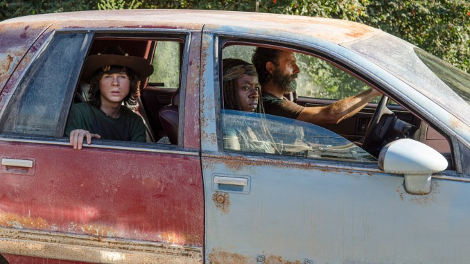 Chandler Riggs as Carl Grimes, Danai Gurira as Michonne and Andrew Lincoln as Rick Grimes - The Walking Dead _ Season 5, Episode 11 - Photo Credit: Gene Page/AMC