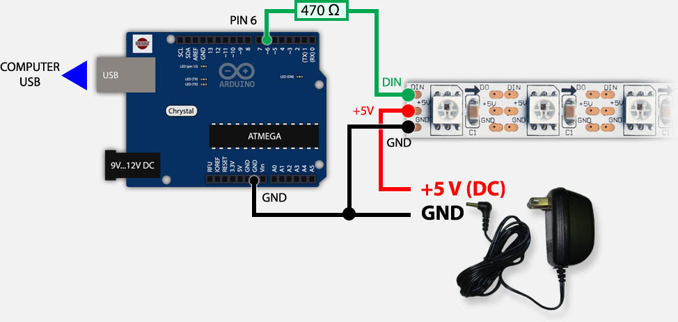 Tweaking4All - Arduino - Controlling a WS2812 LED strand with