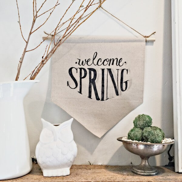 Make this easy dropcloth sign for spring!  You will want to make one for every occasion.  | Twelveonmain.com