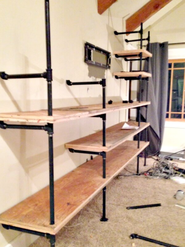 diy industrial pipe shelves twelve on main. Black Bedroom Furniture Sets. Home Design Ideas