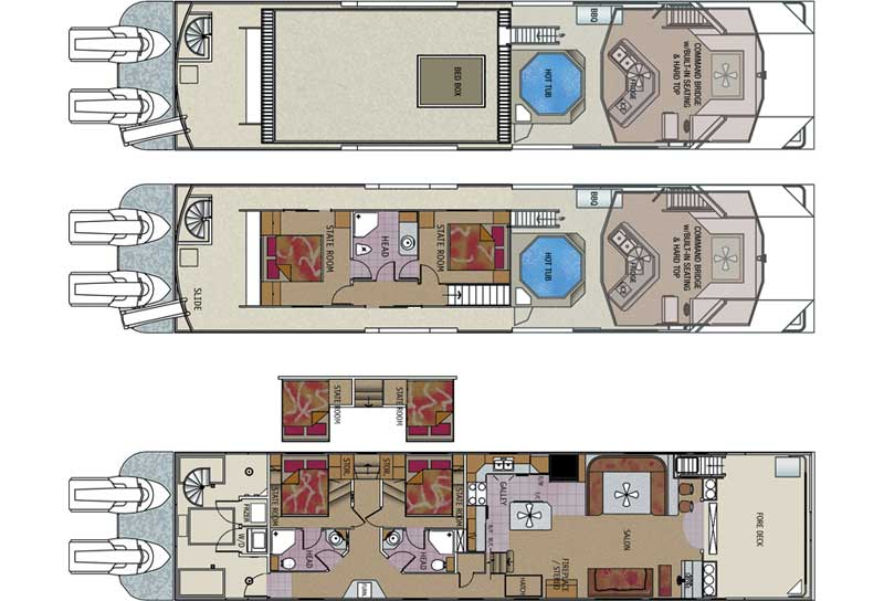 wwwtwinanchorsmfg images floorplans odyssey-houseboat - plan sales
