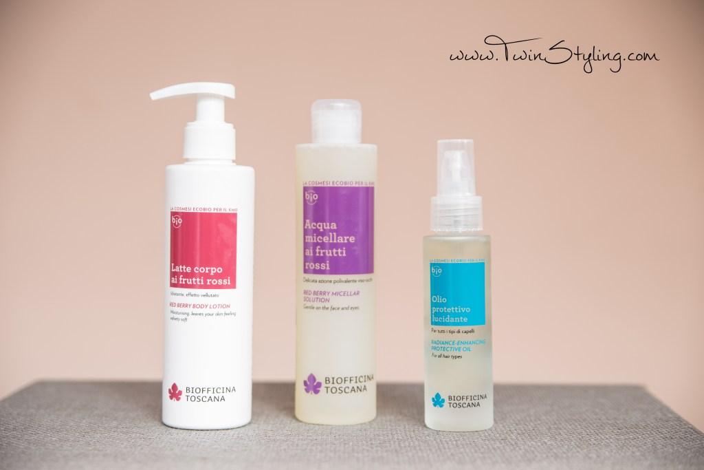 latte corpo frutti rossi, acqua micellare frutti rossi, olio protettivo per tutti i tipi di capelli - biofficina toscana